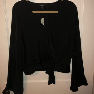 Going out black bell sleeve v neck blouse